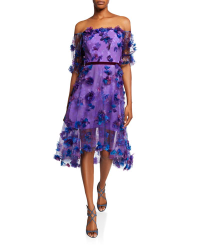 Off-the-Shoulder Blouson-Sleeve Tulle Dress w/ 3D Flowers