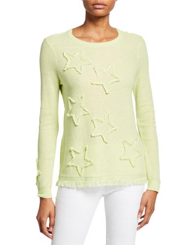 Plus Size Multi Fray Stars Sweater with Frayed Hem