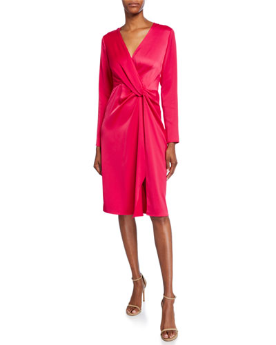 V-Neck Long-Sleeve Knot-Front Satin Dress