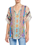 Johnny Was Floral Mixed Medai Split-Neck Scallop Hem
