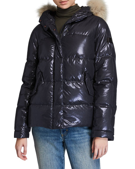 Peuterey Mils Ma Fur-Trim Hooded Puffer Coat