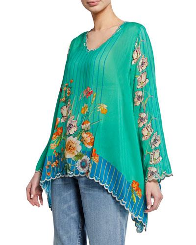 Stella Floral-Print V-Neck Flare-Sleeve Georgette Blouse