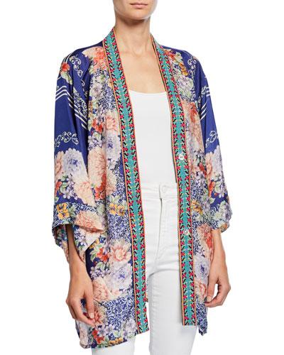 Blati Printed Silk Shorter Kimono with Embroidered Trim