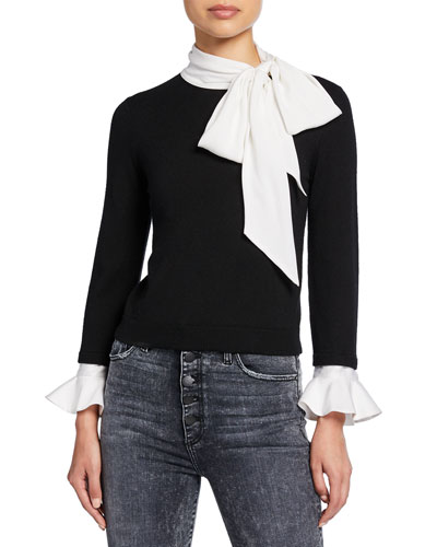 Justina Colorblock Tie-Neck Long-Sleeve Combo Sweater