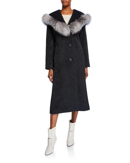 Sofia Cashmere Hooded Fox Fur-Trim Princess Coat