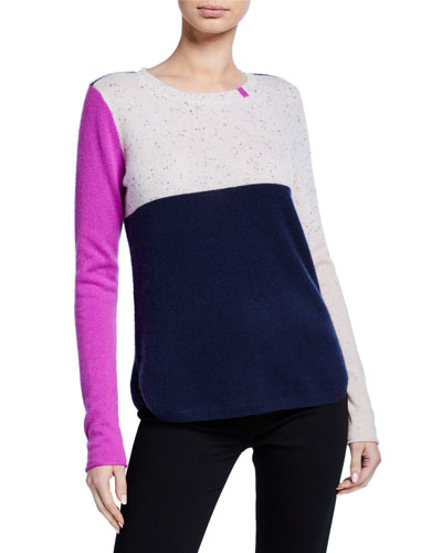 Petite Block Shock Colorblock Crewneck Cashmere Sweater