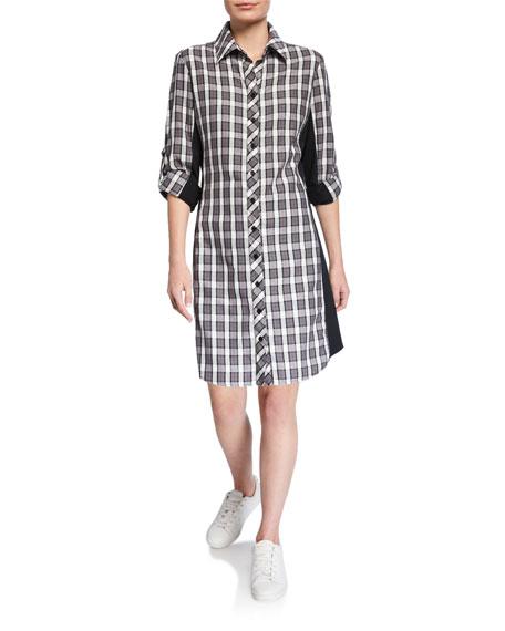 Finley Petite Casey Check Combo Long-Sleeve Shirtdress