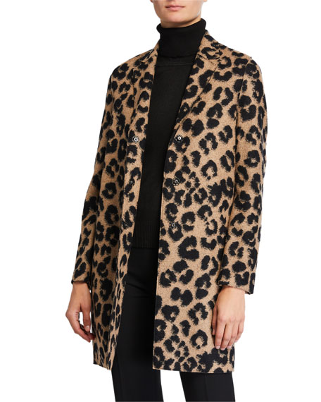 Harris Wharf London Jacquard Leopard Cocoon Coat