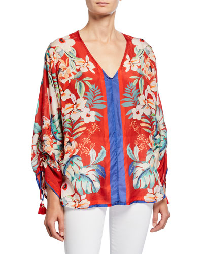 Evy Floral V-Neck Long-Sleeve Silk Georgette Blouse