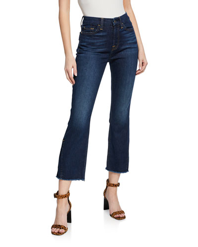 Cropped High-Rise Boot-Cut Jeans with Vented Hem