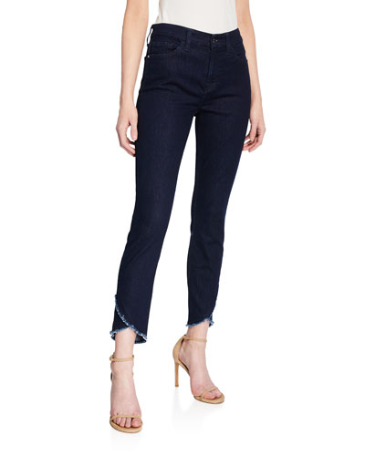 High-Rise Ankle Skinny Jeans with Scalloped Hem