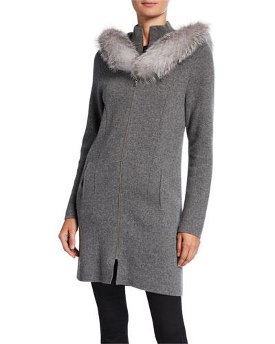 Cashmere Fox Fur Hooded Twofer Coat
