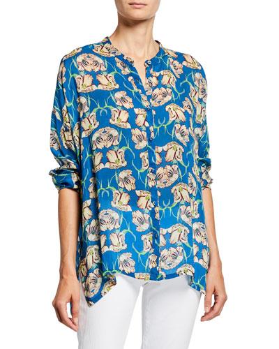 Plus Size Fleur Floral Button-Front Long-Sleeve Georgette Blouse