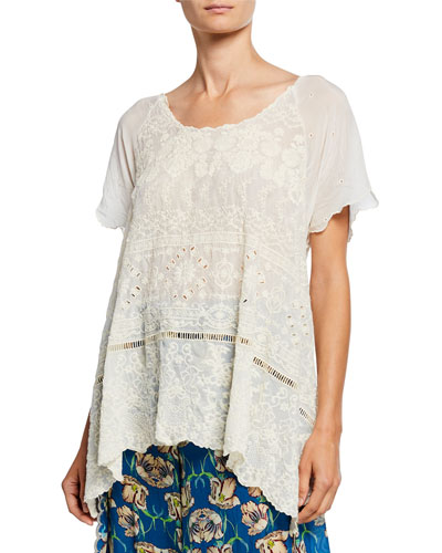 Sutera Embroidered Eyelet Short-Sleeve Scallop Tunic