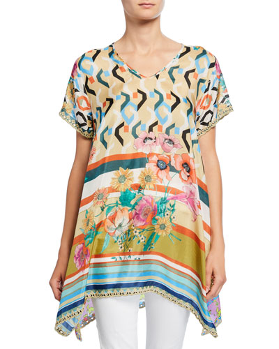 Foulard Mixed Media V-Neck Short-Sleeve Silk Georgette Long Tunic