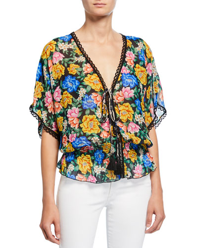 Ava Floral V-Neck Short-Sleeve Smock Waist Tassel Top