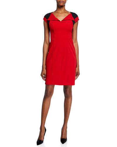 Colorblock V-Neck Cap-Sleeve Crepe Dress with Flyaway Collar