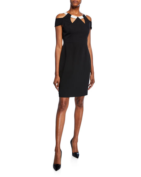 Shani Jewel-Neck Cold-Shoulder Cutout Crepe Dress
