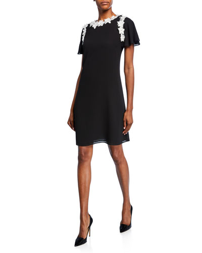 Short-Sleeve A-Line Georgette Dress with Floral Appliques