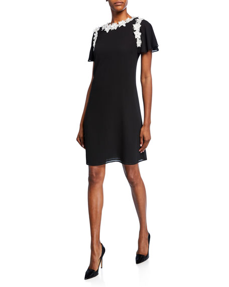 Shani Short-Sleeve A-Line Georgette Dress with Floral Appliques