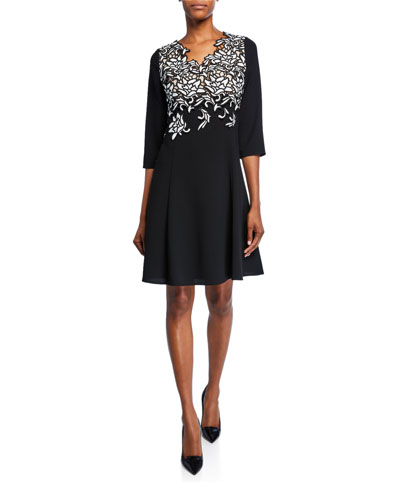 V-Neck 3/4-Sleeve Crepe Dress with Embroidery
