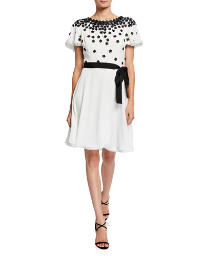 Flutter-Sleeve Georgette Dress with Appliques