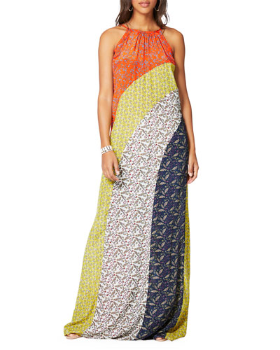 Wesley Printed Colorblock Maxi Dress