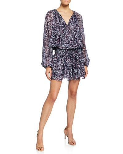 Beckam Printed V-Neck Long-Sleeve Mini Blouson Dress
