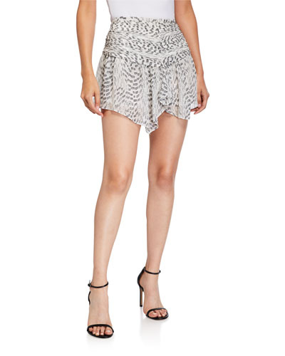Renly Ruched Asymmetrical Mini Skirt