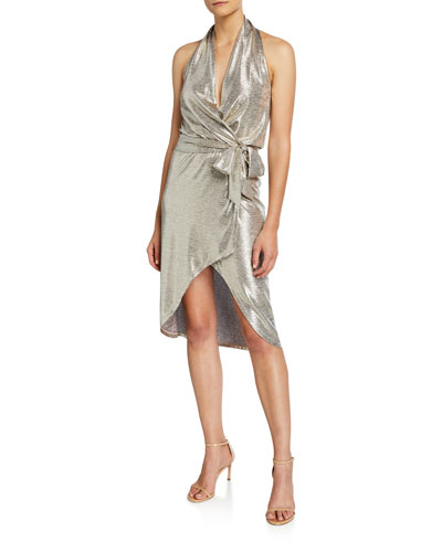 Maura Metallic Halter Wrap Dress