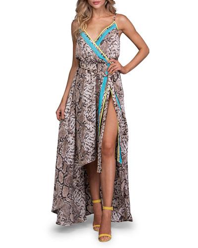 Python-Print Sleeveless High-Low Wrap Dress