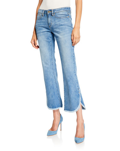 Cropped Denim Flare Jeans