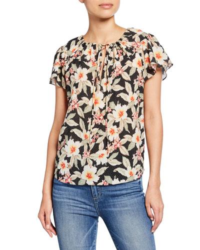 Kamea Floral Flutter-Sleeve Top