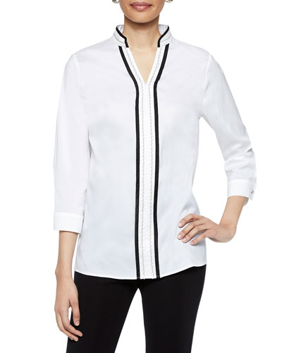 Zip-Front 3/4-Sleeve Stretch Cotton Tunic