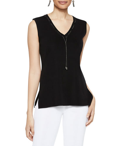 V-Neck Tank with Chain Trim