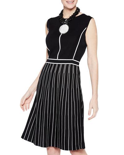 Sunburst Pattern Sleeveless A-Line Dress
