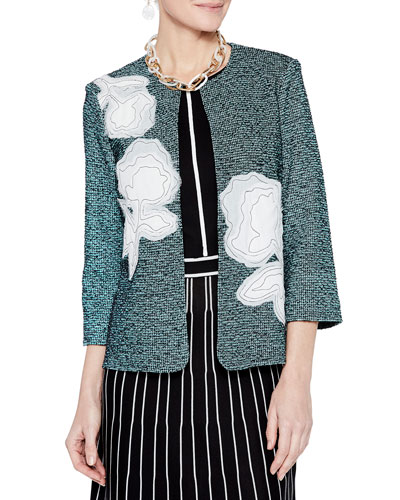 Tweed & Floral Applique 3/4-Sleeve Jacket