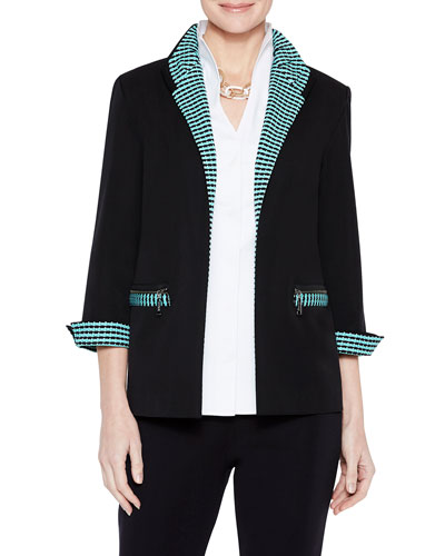 Cotton Jacket with Contrast Trim