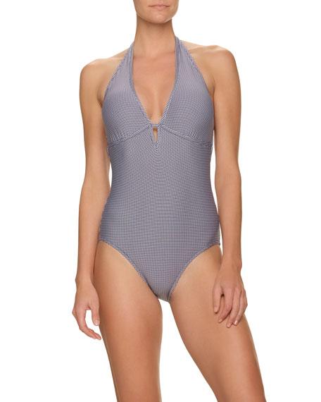 Draper James x Helen Jon Keyhole Gingham Halter One-Piece Swimsuit