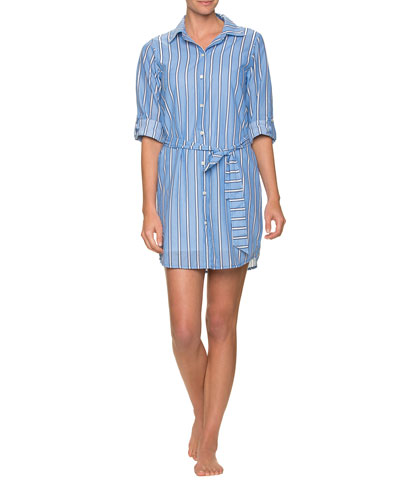 Striped Cotton Shirtdress with Belt