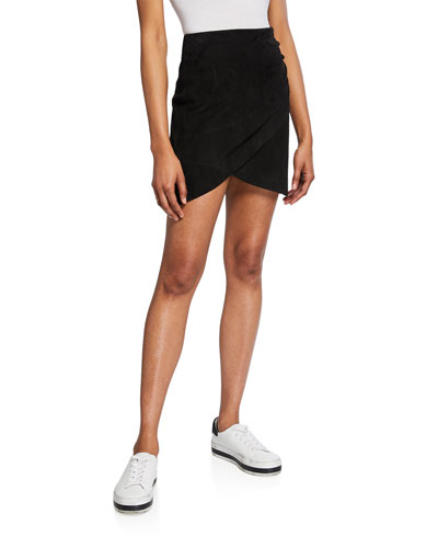 Fidela Draped Suede Mini Skirt