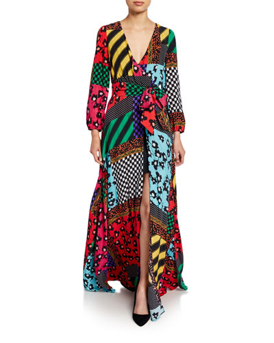 Coco Snake-Print Mock-Wrap Blouson-Sleeve Maxi Dress