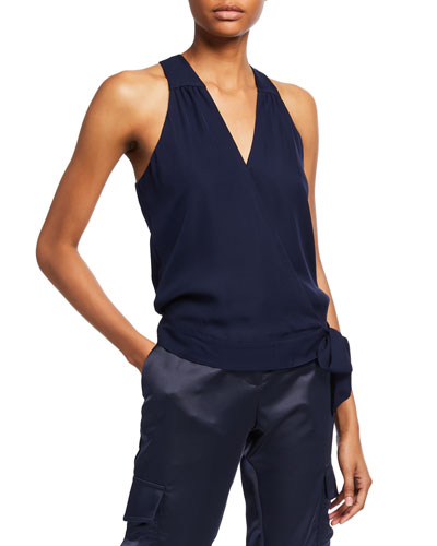 Kenna Sleeveless Side-Tie Surplice Top
