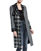 Alice + Olivia Timpson Pleated-Back Patchwork Trench Coat
