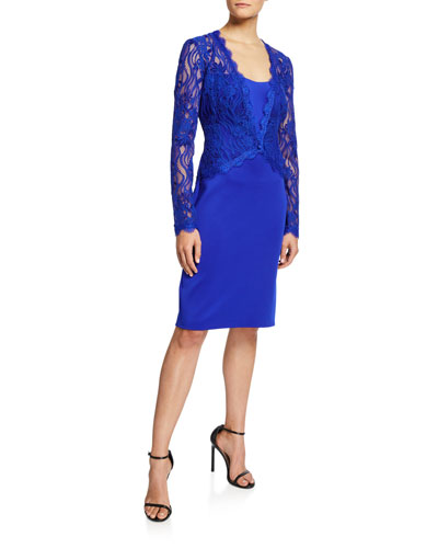 Long-Sleeve Lace & Neoprene Sheath Dress