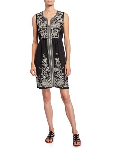 Jewel Embroidered Linen Tank Dress