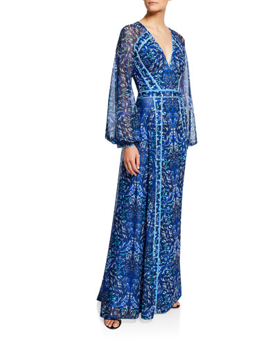 Printed V-Neck Long-Sleeve Jersey Gown