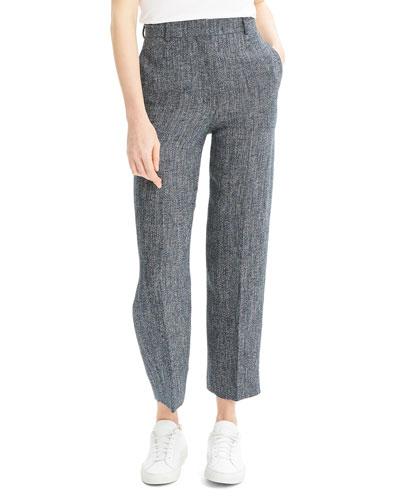 High-Waist Straight-Leg Herring Melange Pants