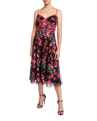 Floral Embroidered Sweetheart Dress