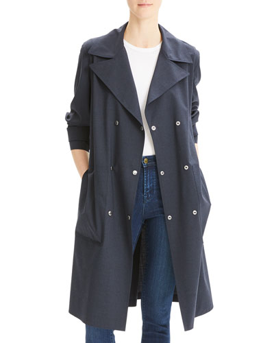 Double-Breasted Military Trench Travel Wool Coat